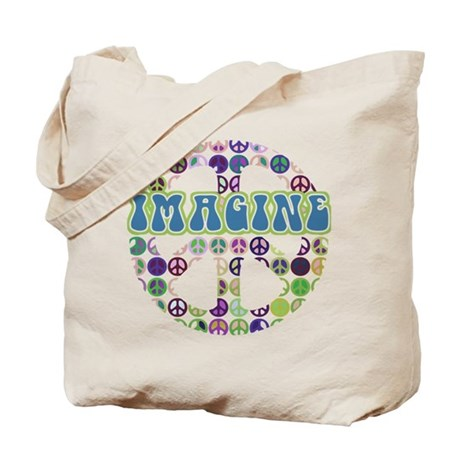 Retro Peace Sign Imagine Tote Bag