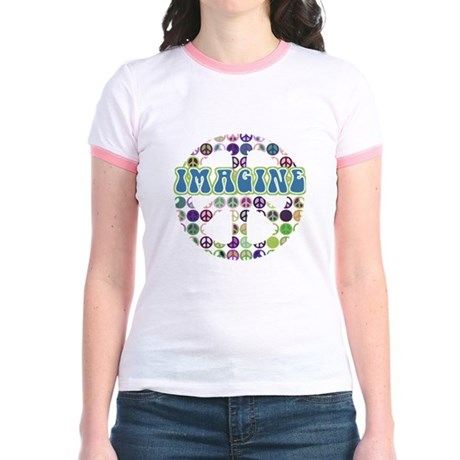 Retro Peace Sign Imagine Jr. Ringer T-Shirt