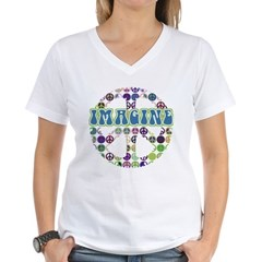 Retro Peace Sign Imagine Women's V-Neck T-Shirt