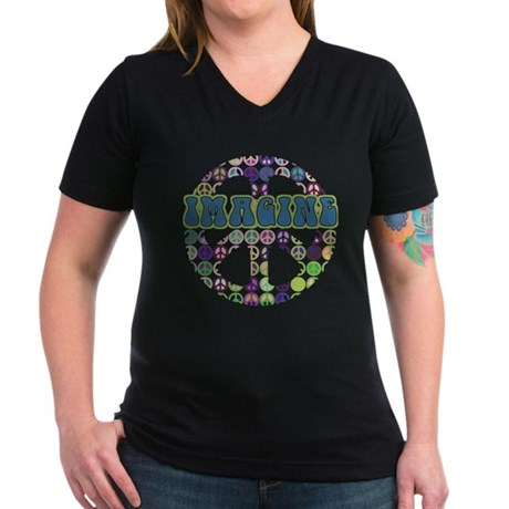 Retro Peace Sign Imagine Women's V-Neck Dark T-Shi
