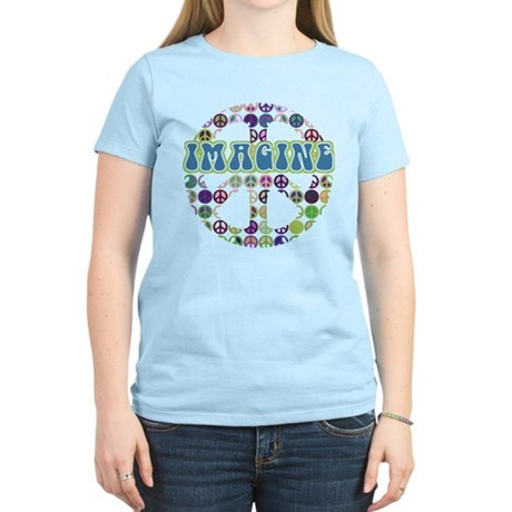 Retro Peace Sign Imagine Women's Light T-Shirt