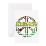 Retro Peace Sign Imagine Greeting Card
