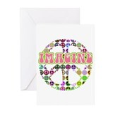 Retro Peace Sign Imagine Greeting Cards (Pk of 10)