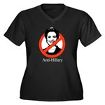 AntiHillary Women's Plus Size V-Neck Dark T-Shirt