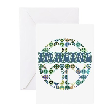 Retro Peace Sign Imagine Greeting Cards (Pk of 20)