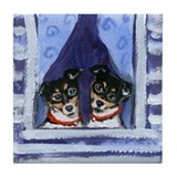 RAT TERRIER window Design Tile Coaster
