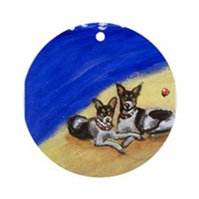 RAT TERRIER beach Design Keepsake (Round)