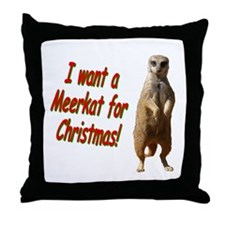 Christmas Meerkat Throw Pillow