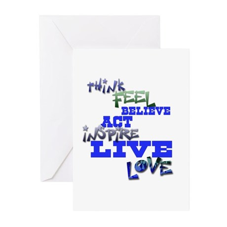 Think, Feel, Believe, Act, In Greeting Cards (Pk o