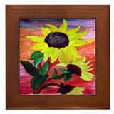 Bright Sunflowers Framed Tile