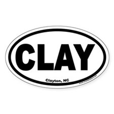 "Clayton, NC ""CLAY"" Oval Decal"