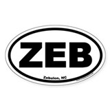 Zebulon, NC &quot;ZEB&quot; Oval Decal