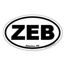 "Zebulon, NC ""ZEB"" Oval Decal"