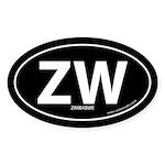 Zimbabwe country bumper sticker -Black (Oval)