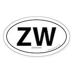 Zimbabwe country bumper sticker -White (Oval)