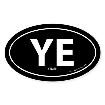 Yemen country bumper sticker -Black (Oval)