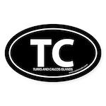 Turks & Calcos Islands bumper sticker -Black Oval