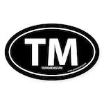 Turkmenistan country bumper sticker -Black (Oval)