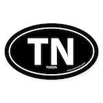 Tunisia country bumper sticker -Black (Oval)