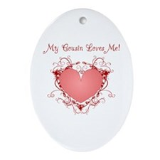 My Cousin Loves Me Heart Oval Ornament