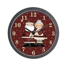 Santa and Mrs. Claus Christmas Wall Clock