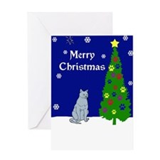 Russian Blue Christmas Greeting Card