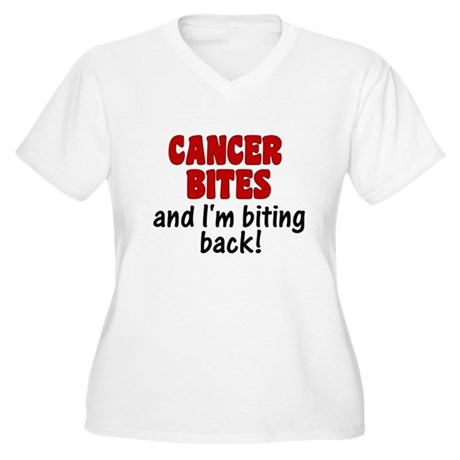 Cancer Bites Women's Plus Size V-Neck T-Shirt
