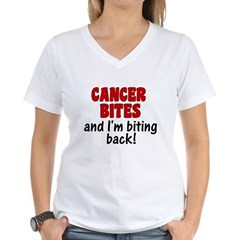 Cancer Bites Women's V-Neck T-Shirt