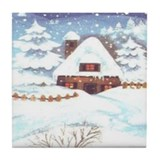 Winter Cottage Tile Coaster