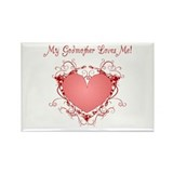 My Godmother Loves Me Heart Rectangle Magnet (100