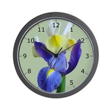 Blue & Yellow Iris Flowers #1g Wall Clock