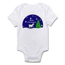 White Goat Merry Christmas Infant Bodysuit