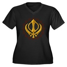 Khanda Women's Plus Size V-Neck Dark T-Shirt