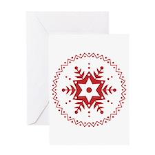 Pennsylvania Dutch Red Snowflake Greeting Card
