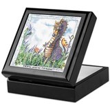 Whimsical Dragon in a field of flowers Tile Box!