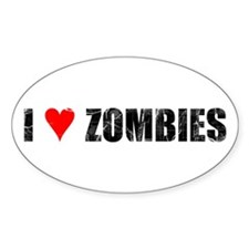 I Heart Zombies Distressed Oval Decal