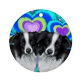 BORDER COLLIE DOGS LOVE HEARTS Ornament (Round)