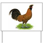 Gold Brabanter Rooster Yard Sign