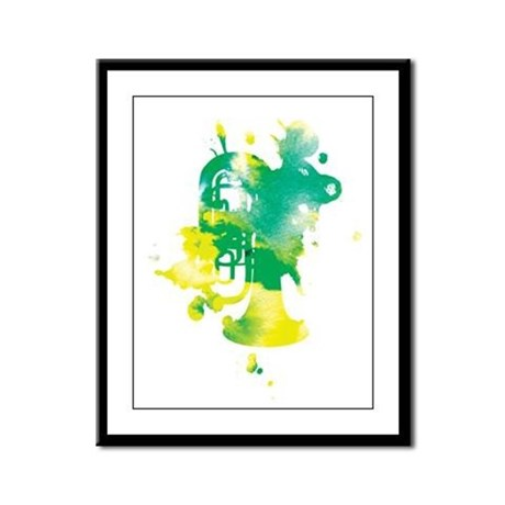 Paint Splat Tuba Framed Panel Print