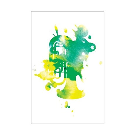 Paint Splat Tuba Mini Poster Print