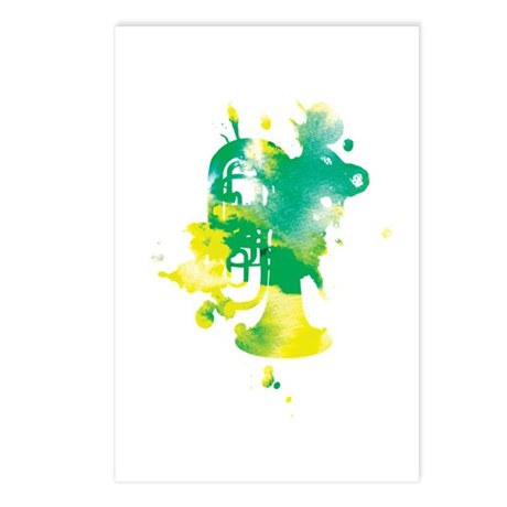 Paint Splat Tuba Postcards (Package of 8)