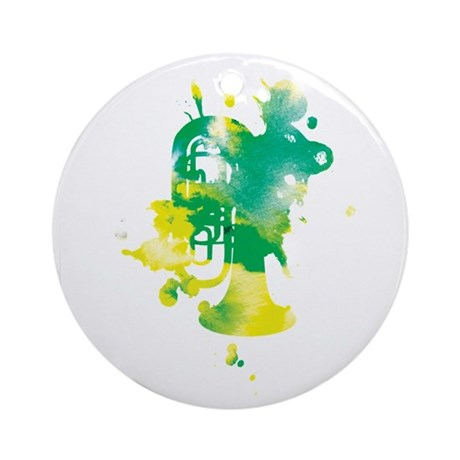 Paint Splat Tuba Ornament (Round)