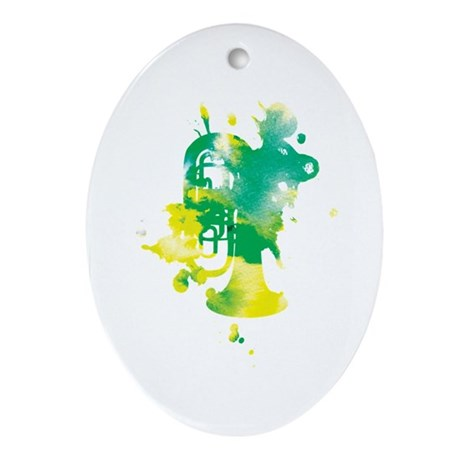 Paint Splat Tuba Oval Ornament