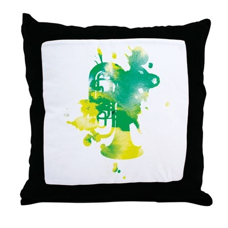 Paint Splat Tuba Throw Pillow