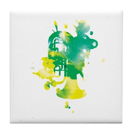 Paint Splat Tuba Tile Coaster