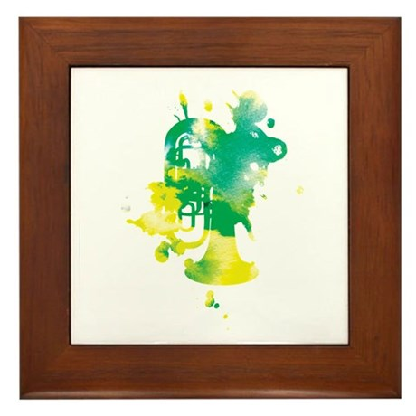 Paint Splat Tuba Framed Tile