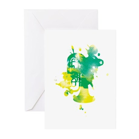 Paint Splat Tuba Greeting Cards (Pk of 10)