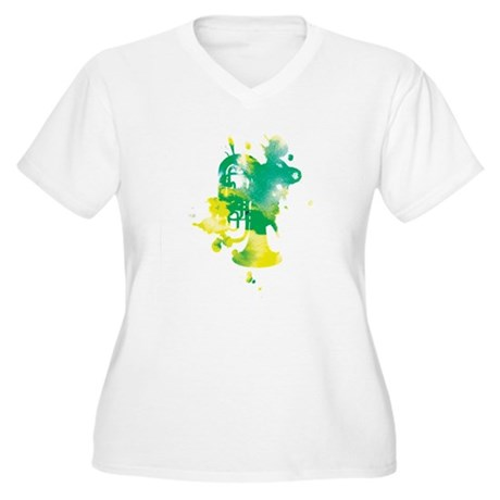 Paint Splat Tuba Women's Plus Size V-Neck T-Shirt