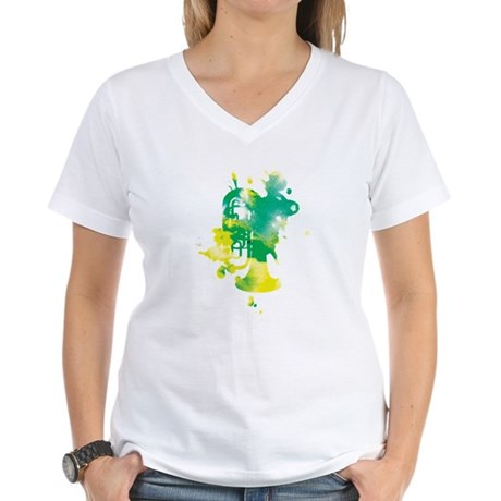 Paint Splat Tuba Women's V-Neck T-Shirt