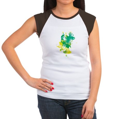 Paint Splat Tuba Women's Cap Sleeve T-Shirt